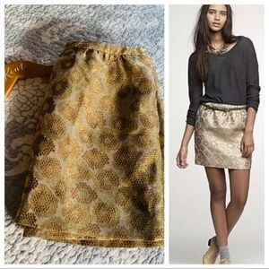 J. Crew Goldenrod Jacquard Metallic Holiday Skirt